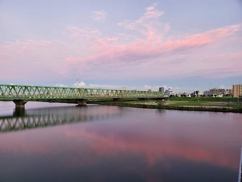 市川橋から隠れたスカイツリーを仰ぐ 4時41分.jpg